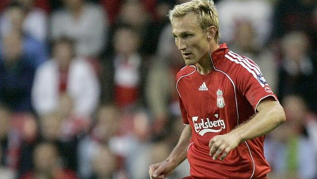 Liverpool's Sami Hyypia in action against Maccabi Haifa during the Champions League third-round qualifier first leg soccer match at Anfield Stadium, Liverpool, England, Wednesday Aug. 9, 2006. (AP Photo/Dave Thompson)