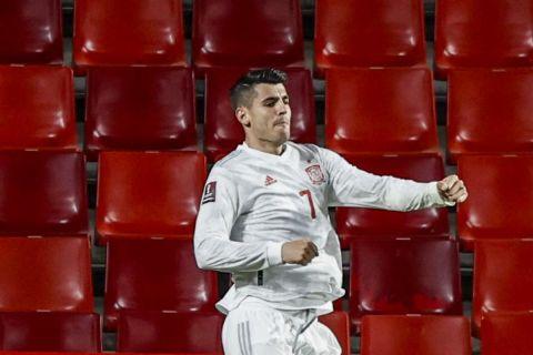 Ο Άλβαρο Μοράτα σε φάση από αγώνα της Εθνικής Ισπανίας