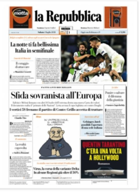 Το πρωτοσέλιδο της La Repubblica