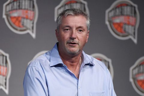 Basketball Hall of Fame Class of 2021 inductee Toni Kukoc speaks at a news conference at Mohegan Sun, Friday, Sept. 10, 2021, in Uncasville, Conn. (AP Photo/Jessica Hill)