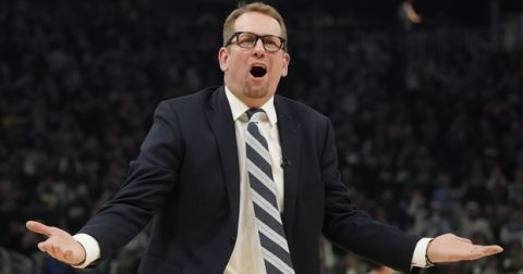 Toronto Raptors head coach Nick Nurse reacts during the first half of Game 2 of the NBA Eastern Conference basketball playoff finals against the Milwaukee Bucks Friday, May 17, 2019, in Milwaukee. (AP Photo/Morry Gash)