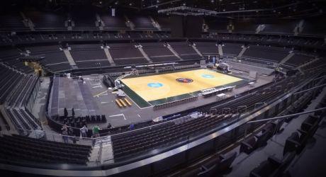 """Η """"Zalgirio Arena"""" από γήπεδο Hockey σε γήπεδο μπάσκετ σε 1.5 λεπτό!"""