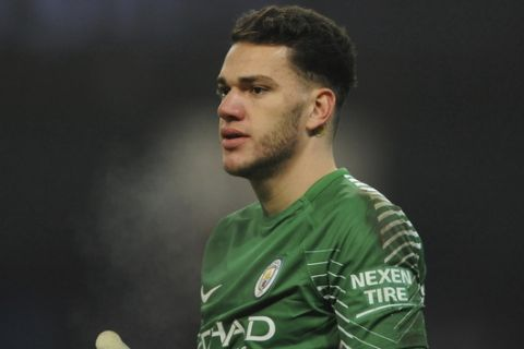 Manchester City's Ederson Moraes during the English Premier League soccer match between Manchester City and Tottenham Hotspur at Etihad stadium, in Manchester, England, Saturday, Dec. 16, 2017. (AP Photo/Rui Vieira)