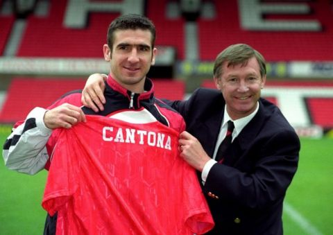 Eric Cantona, Manchester United's new signing, with manager Alex Ferguson.