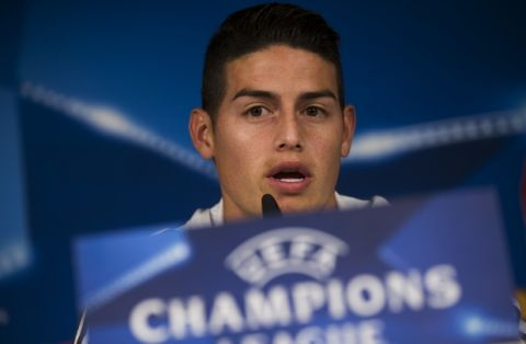 Bayern Munich's James Rodriguez during talks to journalists during a news conference at the Santiago Bernabeu stadium in Madrid, Monday, April 30, 2018. Bayern Munich will play a Champions League semi final second leg soccer match with Real Madrid on Tuesday, May 1. (AP Photo/Francisco Seco)