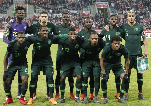 Nigeria's pose for the photographers before an international friendly soccer match between Poland and Nigeria in Wroclaw, Poland, Friday, March 23, 2018.(AP Photo/Czarek Sokolowski)