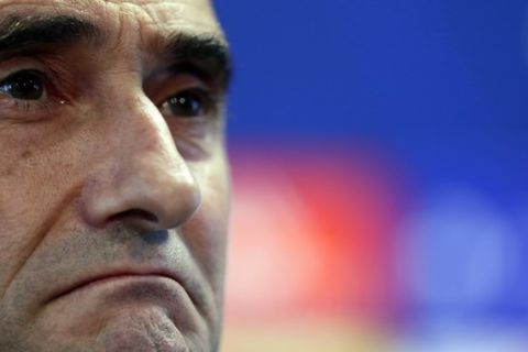 FC Barcelona's coach Ernesto Valverde attends a press conference at the Sports Center FC Barcelona Joan Gamper in Sant Joan Despi, Spain, Tuesday, April 30, 2019. FC Barcelona will play against Liverpool in a first leg semifinal Champions League soccer match on Wednesday, May 1. (AP Photo/Manu Fernandez)