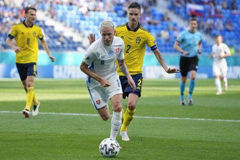 Ο Ντούντα με τη φανέλα της Σλοβακίας στην αναμέτρηση με την Σουηδία για το Euro 2020 (18 Ιουνίου 2021)