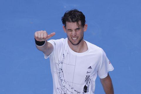 Ο Ντόμινικ Τιμ κατά τη διάρκεια του Australian Open