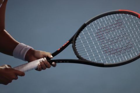 Mexico's Renata Zarazua holds her racket as she waits for Slovenia's Tamara Zidansek to serve, in their quarterfinal match at the Mexican Tennis Open in Acapulco, Mexico, Thursday, Feb. 27, 2020.(AP Photo/Rebecca Blackwell)