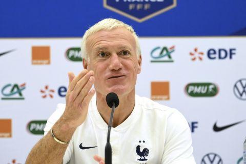 Ο Ντιντιέ Ντεσάμπ σε συνέντευξη Τύπου της εθνικής Γαλλίας πριν από διεθνές φιλικό ματς με την Ουαλία (1 Ιουνίου 2021)